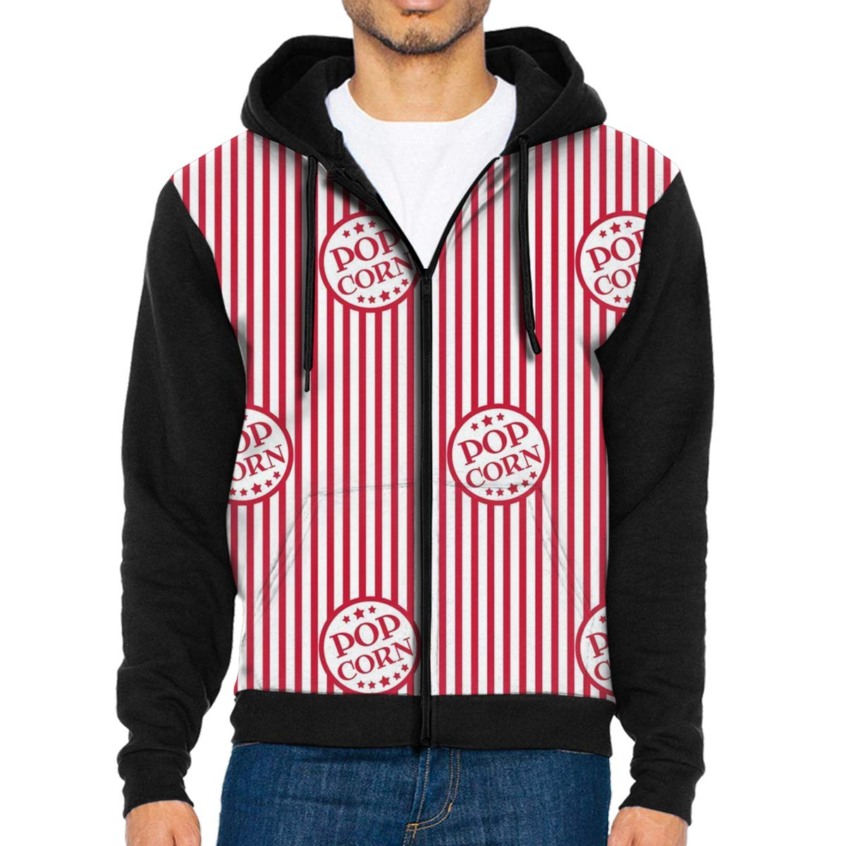MHBGMYES Popcorn Lightweight Mans Jacket with Hood Long Sleeved Zippered Outwear