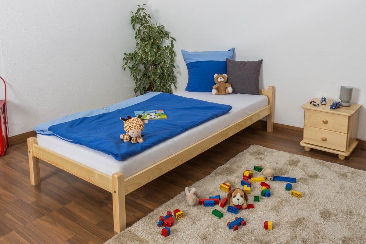 Kinderbett / Jugendbett Kiefer massiv Vollholz natur 100, inkl. Lattenrost Lattenrost Lattenrost - Abmessung 90 x 200 cm 437729