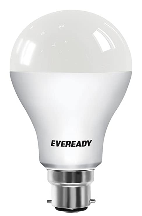 Eveready Base B22 7 Watt LED Bulb with Free AA Size Battery  Pack of 6, Cool Day Light