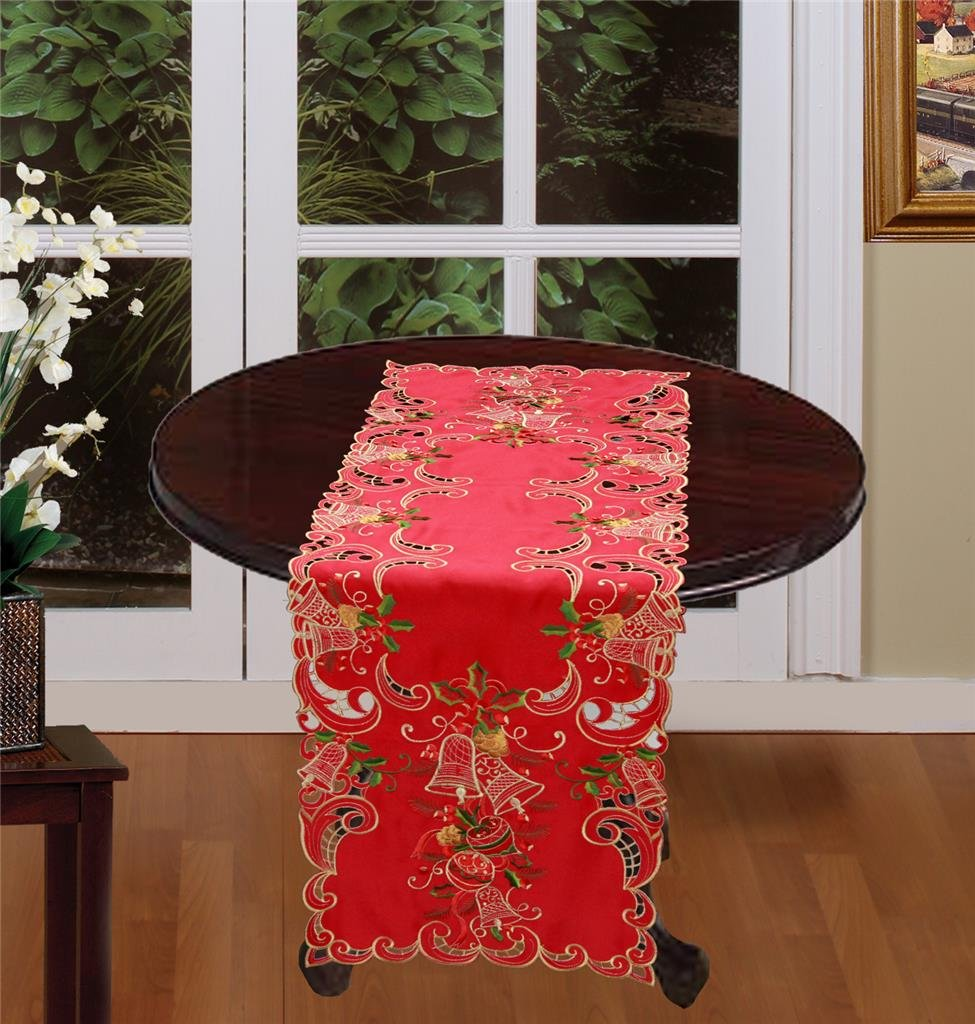 Creative Linens Holiday Christmas Table Runner 15x68 Embroidered Bell Ornament Pine Cone Winter Dresser Scarf Red Gold