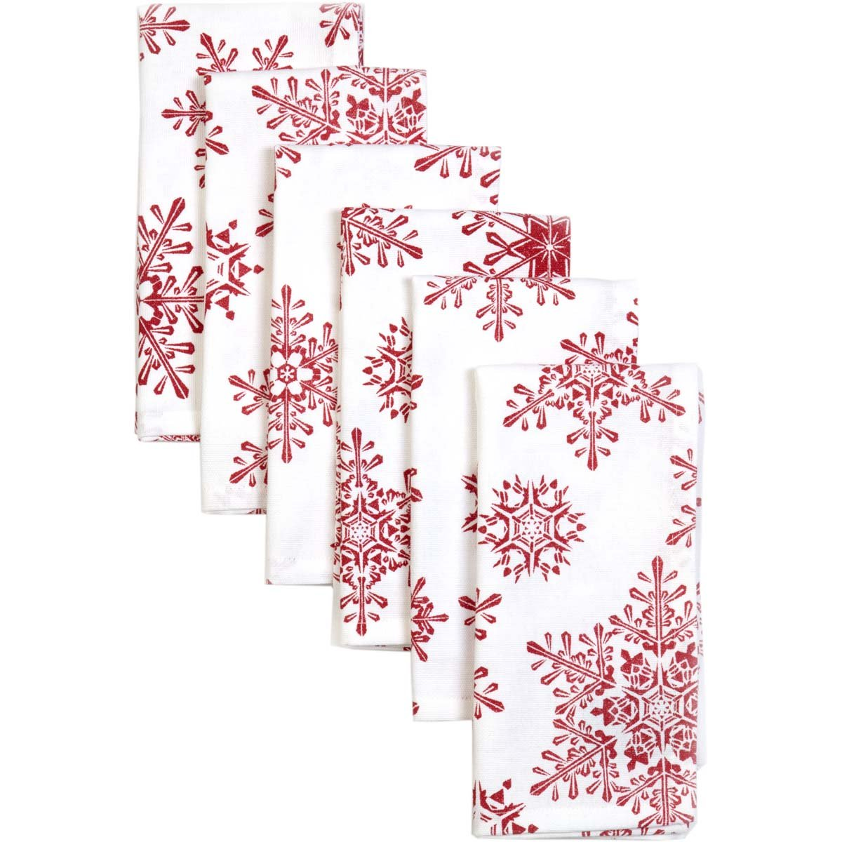 VHC Brands Christmas Holiday Tabletop & Kitchen-Snowflake White Napkin Set of 6, Red 38601