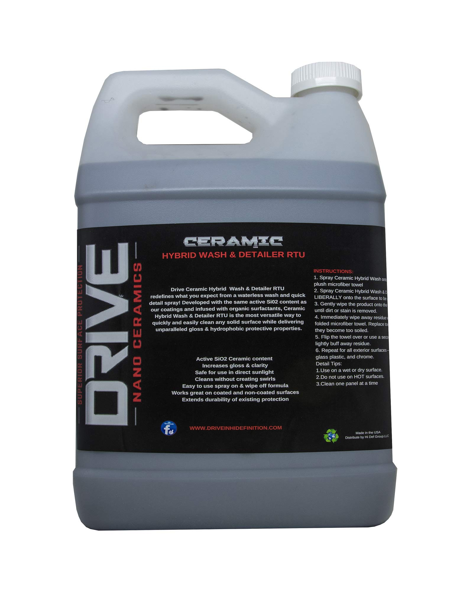 Drive Auto Appearance Ceramic Infused Waterless Wet Or Dry Wash & Gloss (1 Gallon) Perfect for Cars, Boats, RVs, Motorcycles. Safe for Chrome, Glass, Wheels, Vinyl, Aluminum, Plastic