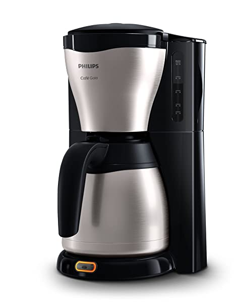 Philips HD7546 HD7546/20-Cafetera de Goteo café Gaia, Jarra térmica con Capacidad para 10-15 Tazas, 1000 W, 15 Cups, Acero Inoxidable, Negro/Plata