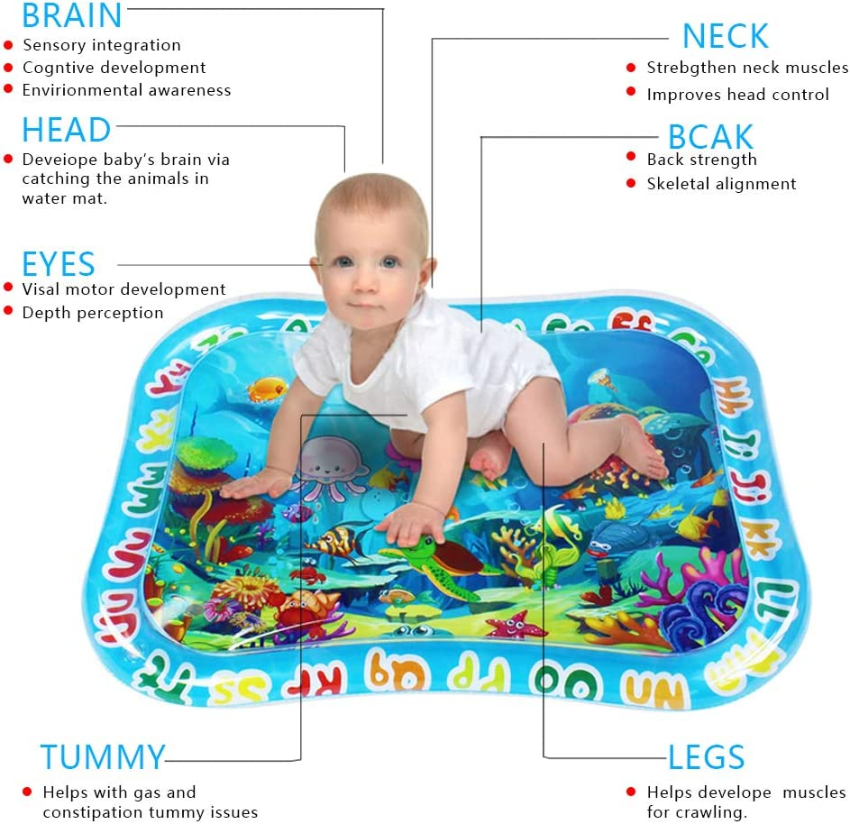 Sofier Tummy Time Mats for Infants Baby Water Mat Early Development Activities Inflatable Play Mat Gifts for Boy Girl Infant Toys Bpa-Free Tummy Time Toys for 3 6 9 Months Baby