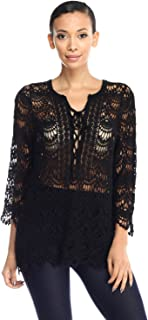 product image for Jubilee Couture Crochet Lace Knit Tie Up Front Blouse