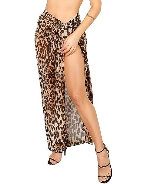 adc25935bb Sedrinuo Women Summer Chiffon Leopard Print Long Beach Sarong Wrap Swimsuit  Cover Up Skirt Khaki