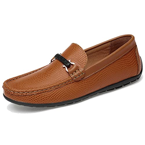 TRULAND Mocasines para Hombre en Cuero Estampado Diamante: Amazon.es: Zapatos y complementos