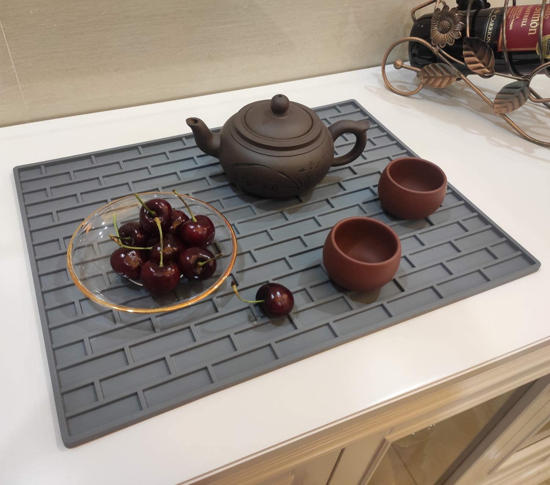 "Urhomey Silicone Dish Drying Mat Food Grade Silicone Dish Mat For Kitchen Counter 15.75""x11.82"" Temp Range -22°F~450°F"