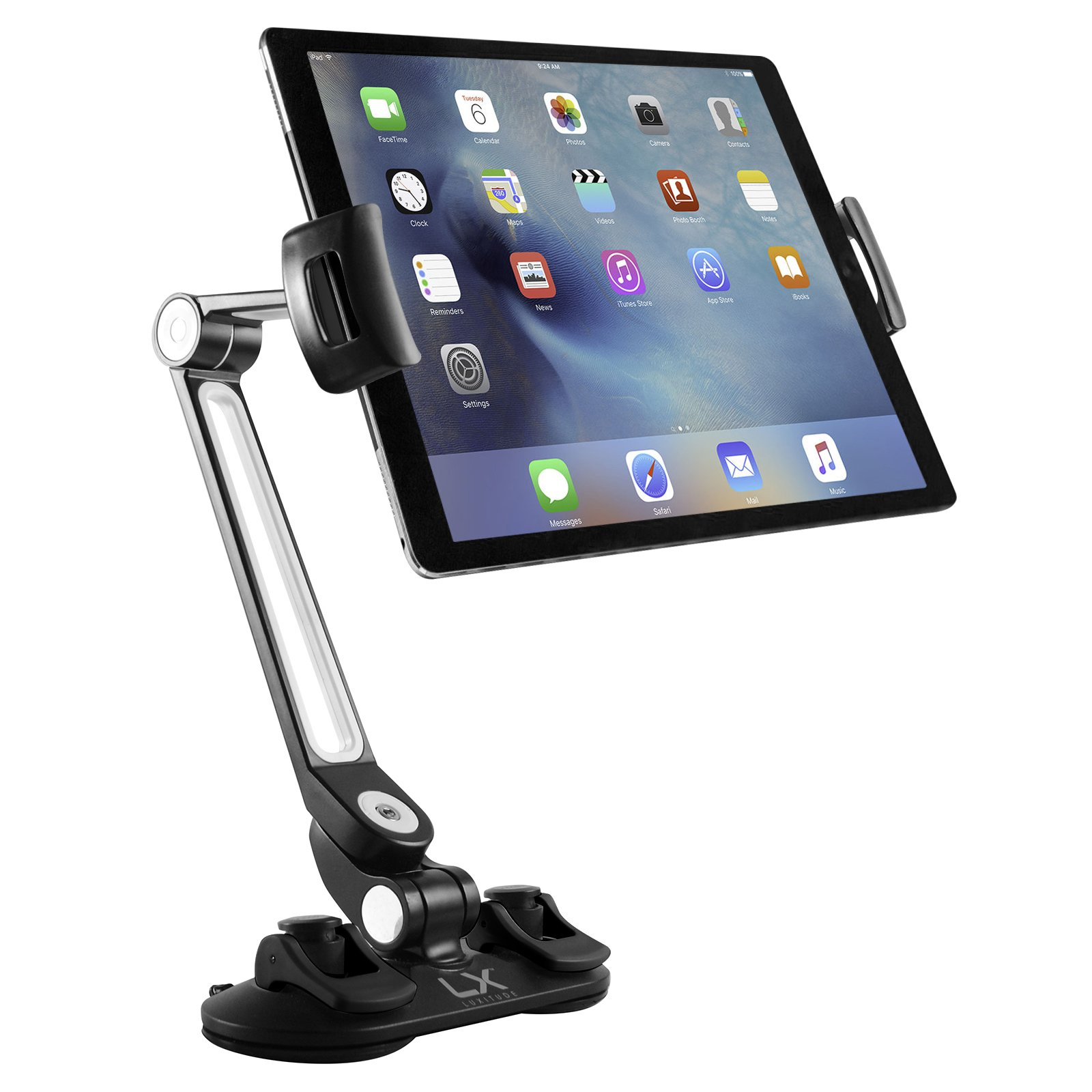 Luxitude Tablet & Phone Holder with Suction Cups & 360 Degree Full Motion, Perfect for Smart Phones, Nintendo Switch, E-Readers & Tablets, Permanent or Temporary Mounting Solution