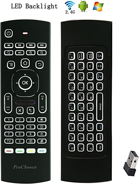 prochosen 2,4 G con mando a distancia Air Mouse, teclado inalámbrico y aprendizaje de infrarrojos para KODI Android TV Box, Smart TV, PC, HTPC, Windows, Mac OS, Linux: Amazon.es: Informática