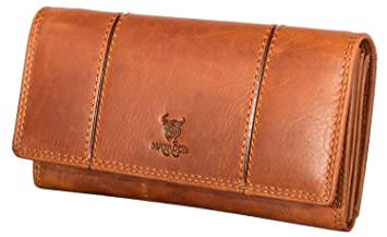 7ec35f354a9b8 MATADOR Damen Leder Langbörse Geldbörse Geldbeutel Portemonnaie Geldtasche  RFID 13 Fächer Vintage Braun