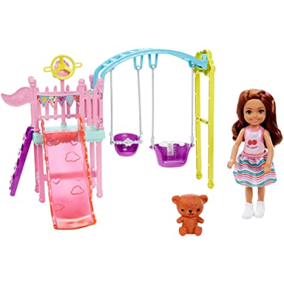 ​Barbie Club Chelsea Doll and Swing Set Playset with 2 Swings and Slide, Plus Teddy Bear Figure, Gift for 3 to 7 Year Olds: Toys & Games