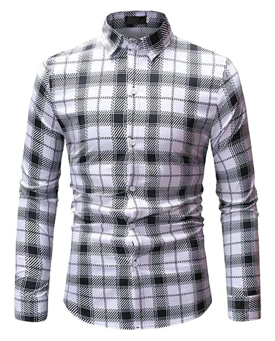 Jofemuho Men Button Up Plaid Print Long Sleeve Casual Business Dress Checkered Shirt