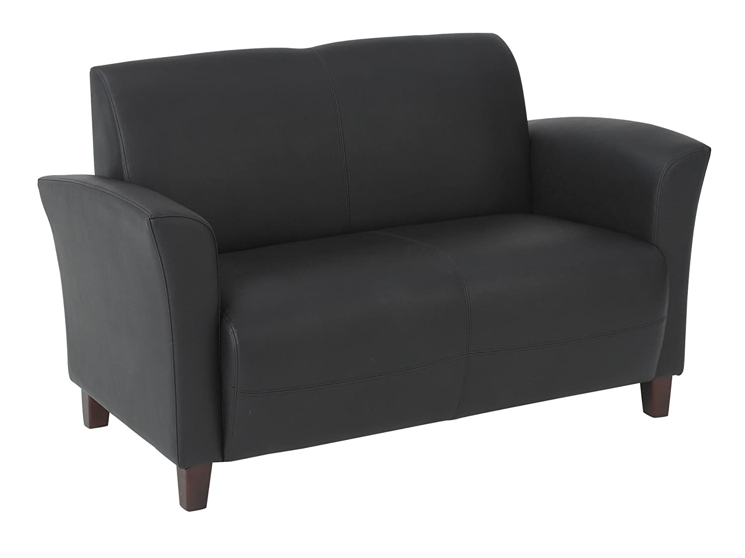 Office Star Breeze Bonded Leather Loveseat with Cherry Finish Legs, Black