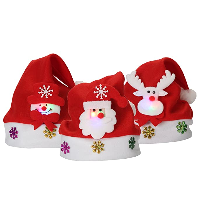 Cappello di Natale Cosplay Costume per Halloween Natale Berretto a Luce LED di  Babbo Natale Ragazzo 0293cbc4a105