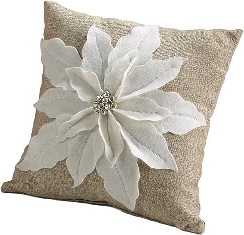 Fennco Styles White Poinsettia Felt Holiday Design Decorative Throw Pillow, 17-inch Square