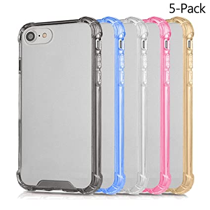 pretty nice 5d9ad c8442 iPhone 7 8 Cases , Wholesale 5 in Pack AMBM Crystal TPU colorful Bumper  Shockproof Drop Protection Cover, For Apple iPhone 7 iPhone 8 4.7 inches ...