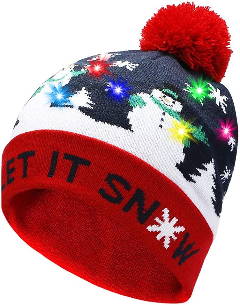 Eaterhom LED Light Up Beanie Hat Knit Cap,6 Colorful Lights LED Christmas Xmas Beanie Hat with Longer Battery Life-Unisex Winter Sweater Ugly Holiday Party Beanie Hat
