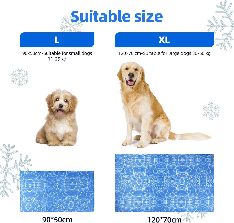 amzdeal Alfombrilla Refrescante Durable para Perros 90 x 50 cm Coj/ín para Perros Plegable y No T/óxico L Ideal para Mantener a Las Mascotas Frescas en Verano Azul Refrigeraci/ón Autom/ática