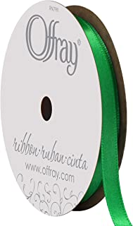 """product image for Berwick Offray 068823 1/4"""" Wide Single Face Satin Ribbon, Emerald Green, 6 Yds"""