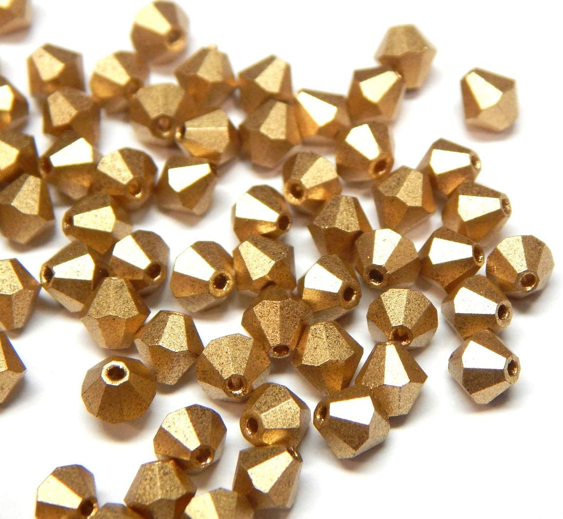 Juego de 40 perlas de cristal bohemias, 4 mm, doble cono, perlas checas, perlas de cristal, cuentas de cristal, bicone, selección de colores, cristal, dorado metálico, 4x4 mm