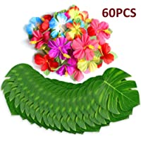 60Pcs Tropical Party Decorations Supplies Tropical Palm Leaves Hibiscus Flowers Simulation Artificial Leaf for Hawaiian…