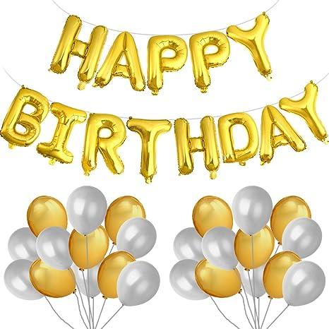 Kuuqa Joyeux Anniversaire Ballon Bannière Lettres Dor En Aluminium Film Ballon Avec 40 Pcs Ballons Pour Les Décorations De Fête Danniversaire