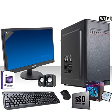 PC Desktop completo Intel I3-9100F 4,2 GHz 9° Generación,licencia Windows 10 Pro 64 bit/WiFi 300 Mbps/SSD 240 Gb/Ram 8 GB ddr4 2400MHz/reproductor ...