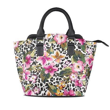 COOSUN Señoras de la flor tropical con bolsas de leopardo patrón de fondo de la PU