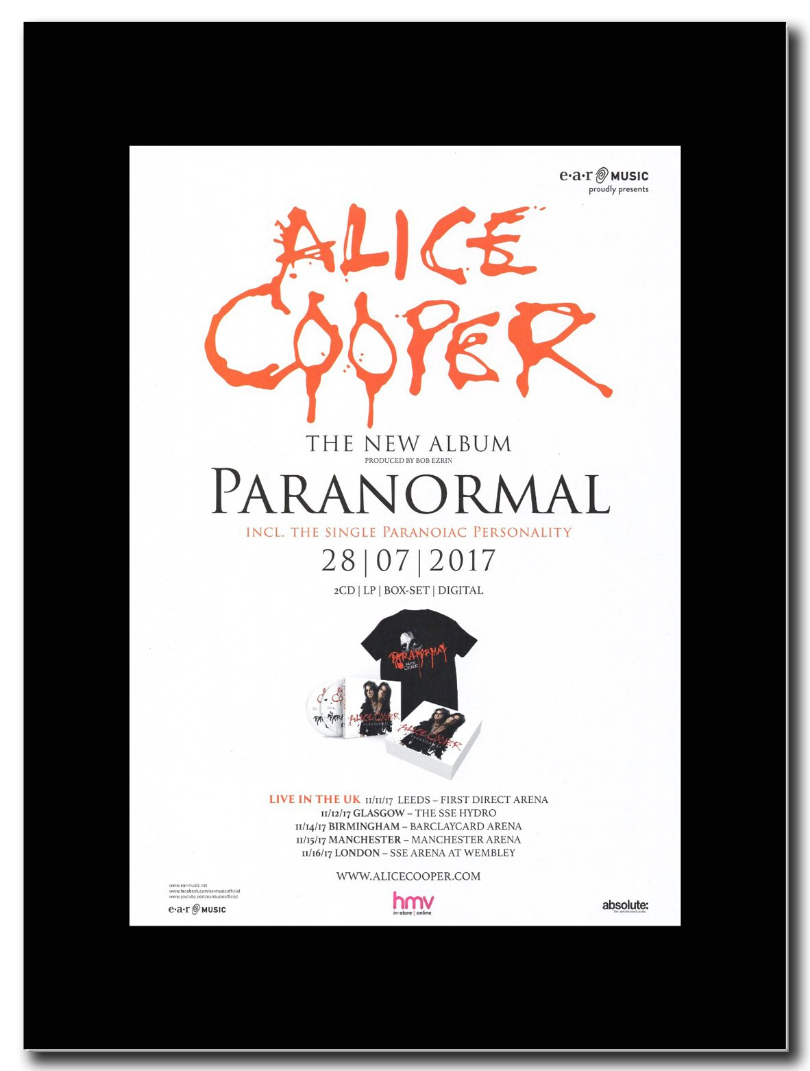 - Alice Cooper - Paranormal. - Magazine Promo on a Black Mount