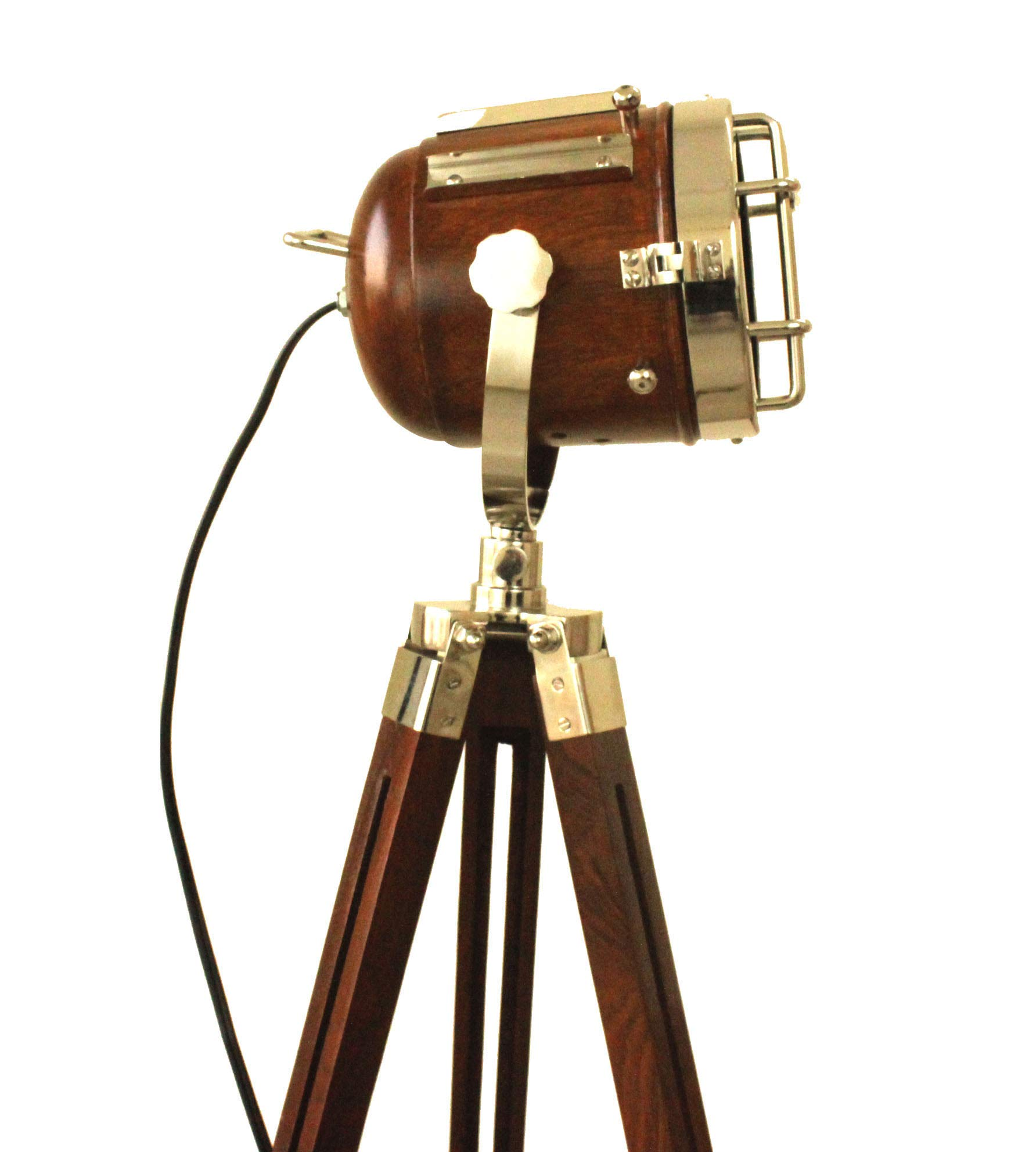 Vintage Searchlight Marine Nautical Look Spotlight Retro Brown Wooden Tripod Searchlight
