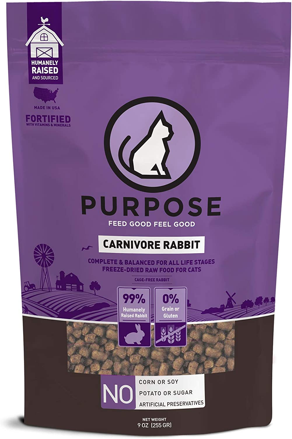 PURPOSE All-Natural Freeze-Dried Carnivore Rabbit Morsels Grain-Free Cat Food 9 oz.   Made in The USA
