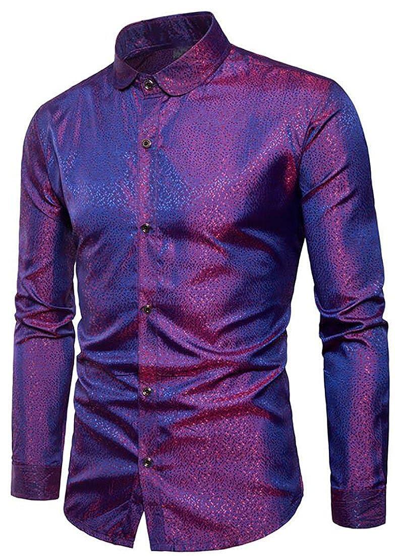 WAWAYAMen WAWAYA Mens Fashion Slim Polka Dots Nightclub Bright Surface Long Sleeve Button Down Shirts