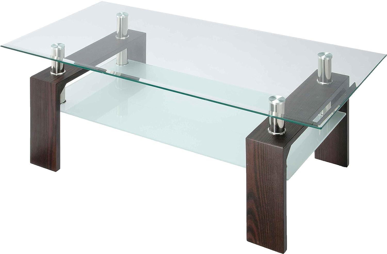 ガラステーブル リビングテーブル 幅96cm 8mm厚 天板 センターテーブル ローテーブル 応接セット 施設 ロビー カフェテーブル ソファテーブル 机 収納 テーブル ディスプレイ 強度 デザイン ゴージャス モダン おしゃれ (ダークブラウン) B01LZWCW6M ダークブラウン ダークブラウン
