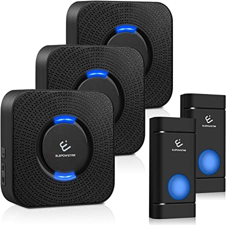 Wireless Doorbell,Push Button Portable Doorbell Chime Kit with 52 Chimes /& Adjustable Volume; 1000ft Operating with Sound /& LED Flash Door Bell for Home