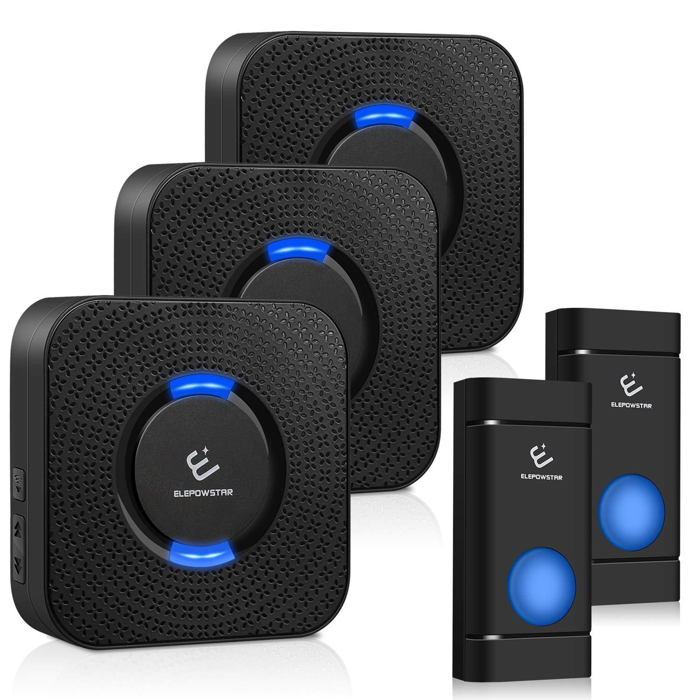 Waterproof Wireless Doorbell kit, ELEPOWSTAR Door Bell Alarm with 1000 feet Operating Range, Door Chime Alarm with 4 Volume Levels, 52 Melodies Chimes, Black (2 Buttons + 3 Plugin Receivers)