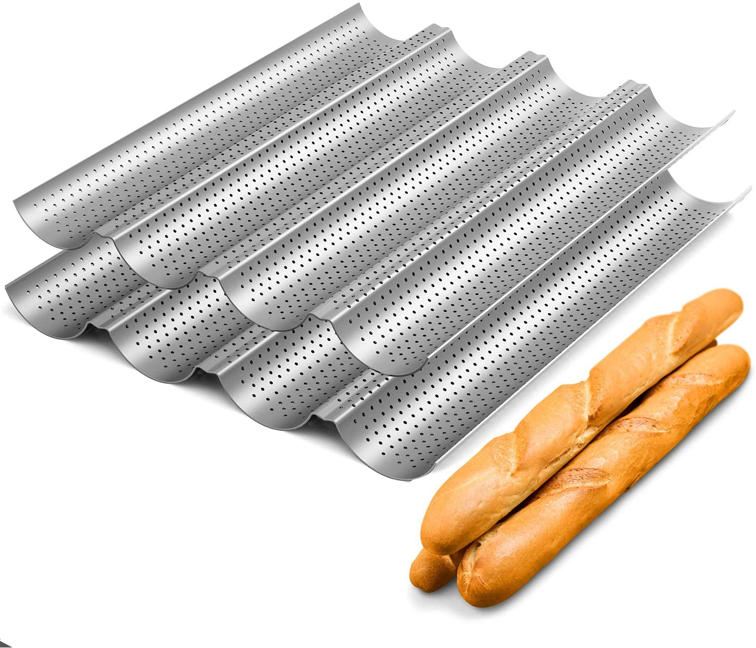 Nonstick Perforated Baguette Pan 15 x 13 for French Bread Baking 4 Wave Loaves Loaf Bake Mold Toast Cooking Bakers Molding 4 Gutter Oven Toaster Pan Cloche Waves Silver Steel Tray