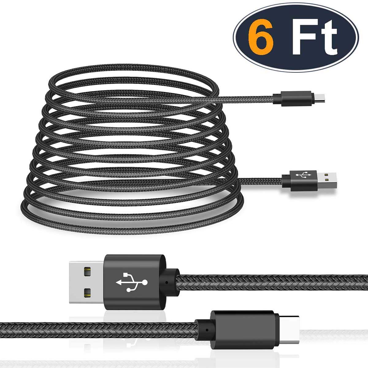 USB Type C Cable 3-Pack,6.6 FT, Silver and More USB C Devices USB A to USB-C Fast Charging Nylon Braided Cord Compatible with Samsung Galaxy S10 S9 S8 Plus Note 9 8,Moto Z,LG V30 V20 G5 UGI