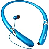 Bluetooth Headphones Retractable Earbuds Neckband Wireless Headset Sports Sweatproof Earphones with Mic (Bluetooth 4.1,Noise Cancelling, 14 Hours Play Time) (Blue)