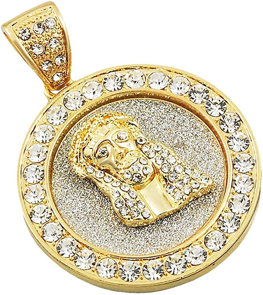"Hip Hop 14k Gold Plated Stardust Praying Hand Oval Medallion Bling 24/"" Chain"