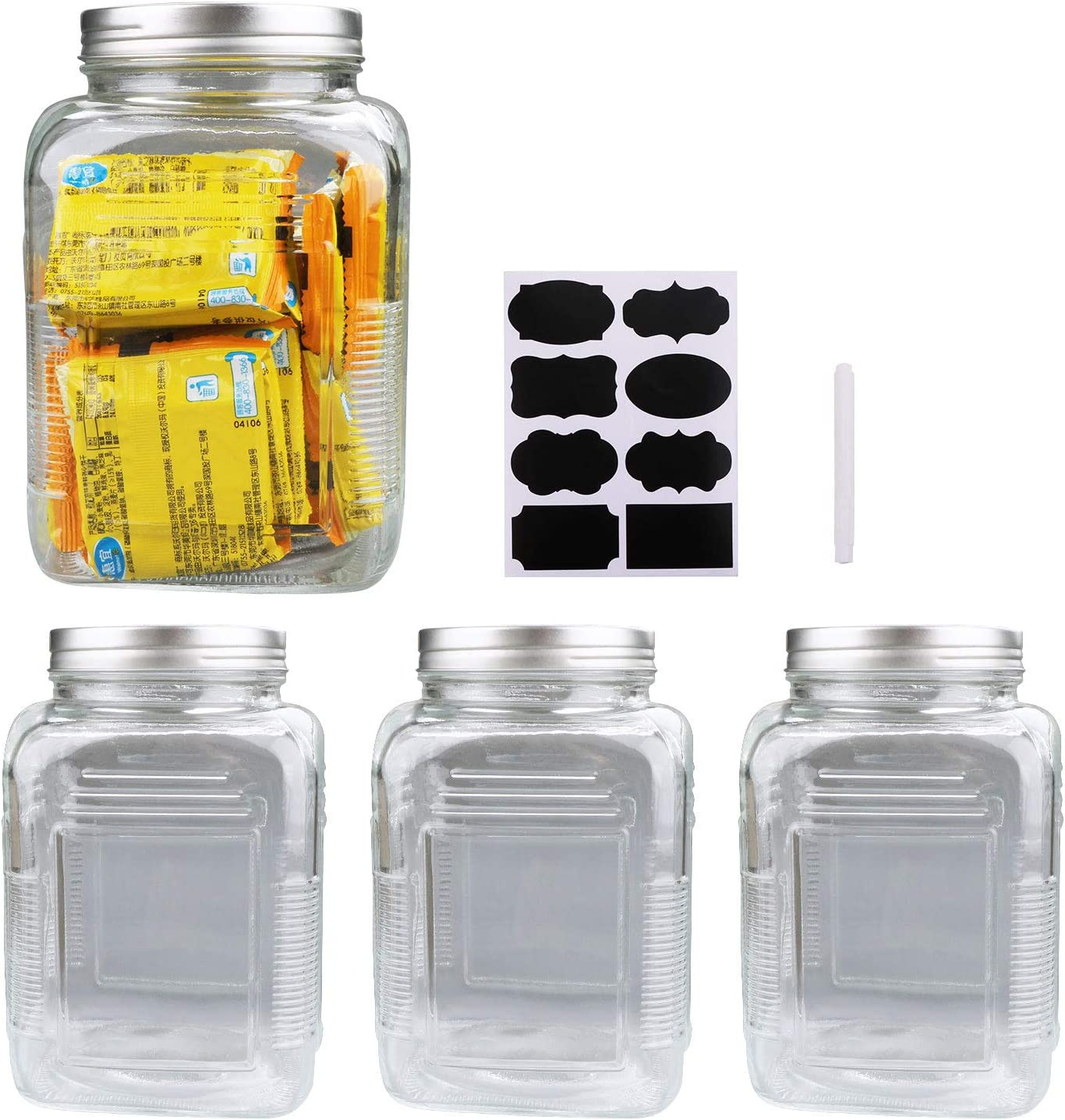 68oz / 2000ml Clear Mason Jar With Lids, Flrolove Airtight Glass Jars With Lid, Clear Square Jars Perfect for Food Storage, Cookies, Canning, Pasta, Beans and Oats, Set of 4