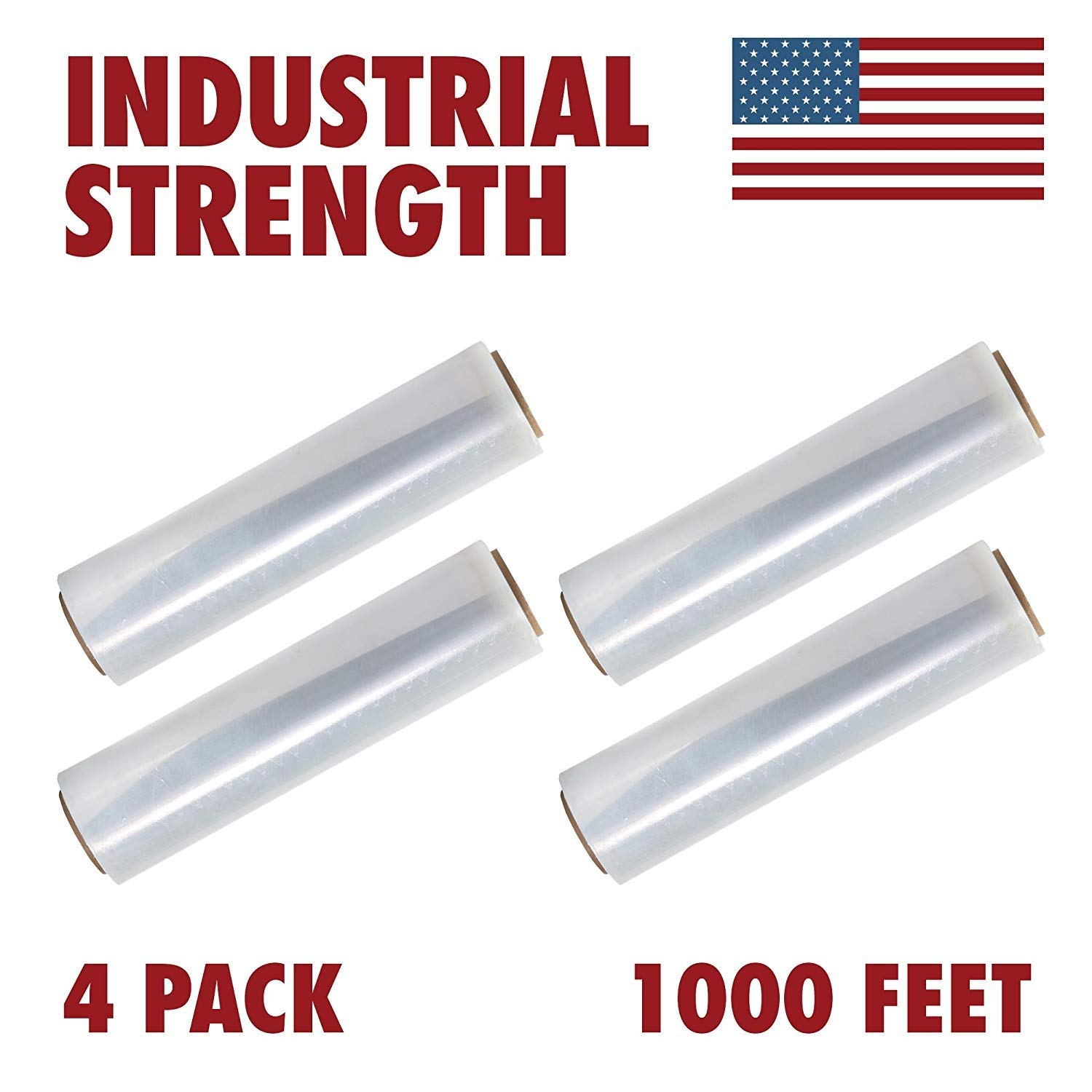 Heavy Duty Stretch Industrial with Handles 4-Pack Thick 80 Gauge for Moving Furniture Pallet Box Wrapping Clear Made in USA Plastic Film Shrink Wrap 20 Inches X 1000 Feet Roll