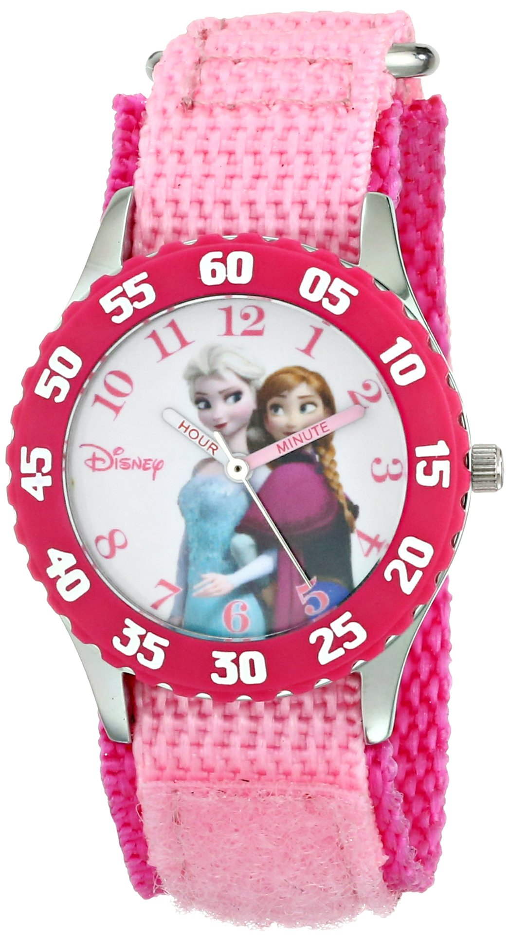 Disney Kids' W000969 Frozen Anna and Elsa Time Teacher Watch with Pink Nylon Band by Disney