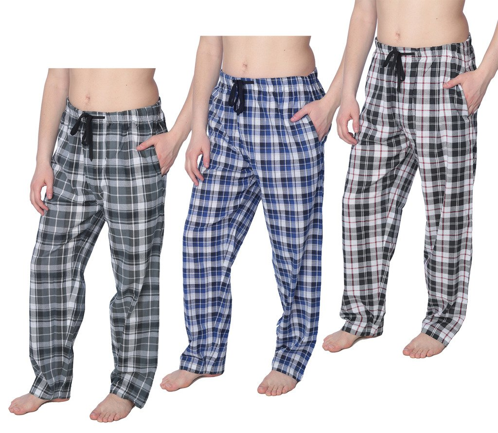 Mens 100% Cotton Plaid Long Lounge Pants Pajama Pants Available in Plus Size Y18_Long_JMP 3-Pack 3X