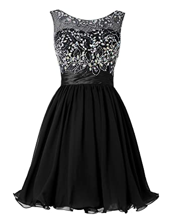 Wedtrend Womens Short Beading Homecoming Dress Rhinestones V-Back Prom Gown WT10124Black2