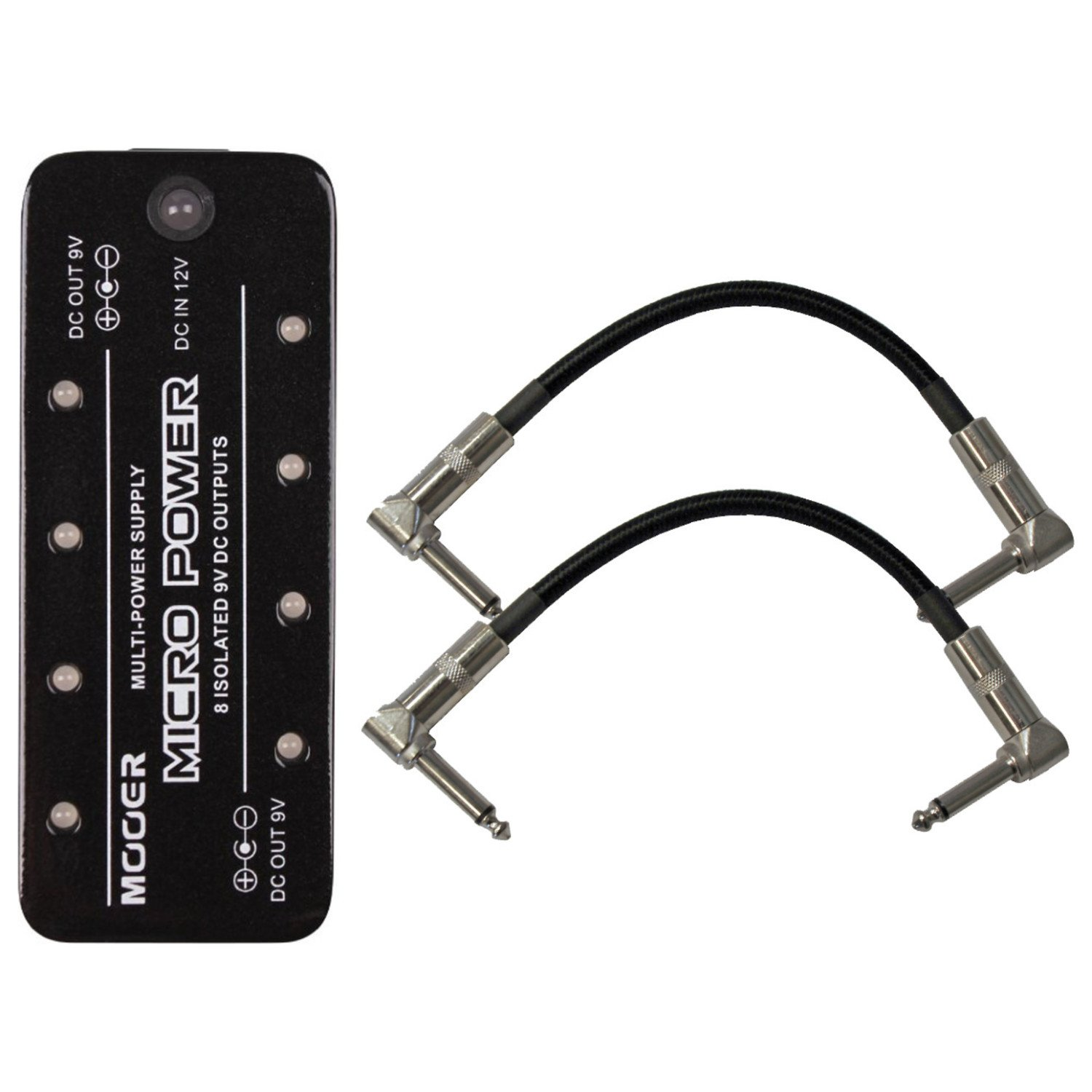 Mooer Micro Power Supply MicroPower 8 Isolated 9v 300mA Outputs w/ 2 Patch Cables by Mooer