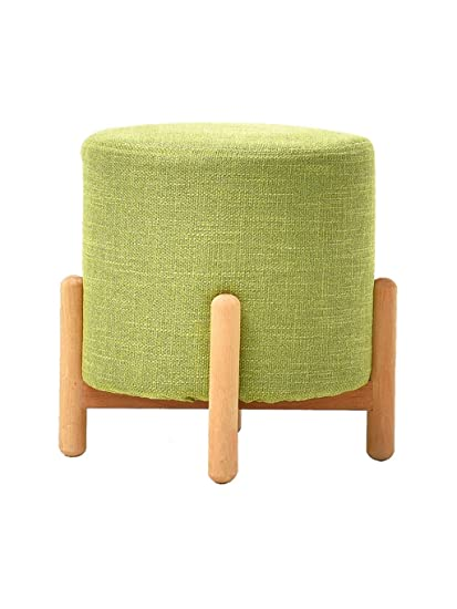 Pleasing Zh Stools Round Stool Solid Wood Small Bench Handmade Cotton Linen Change Shoe Stool For Living Room Entrance Color Green Size Light Brown Squirreltailoven Fun Painted Chair Ideas Images Squirreltailovenorg