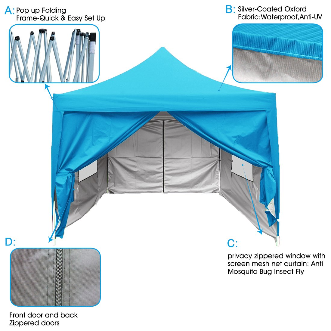 Quictent privacy Pyramid-roofed 8'x8' Mesh Curtain EZ Pop Up Canopy Tent Instant Canopy Gazebo 3 adjust point-7 Colors (Light Blue) by Quictent