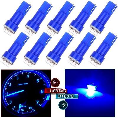 cciyu 10pcs T5 74 17 37 58 85 LED Light Bulbs Instrument Panel Dashboard Light Bulbs,Ice Blue: Automotive