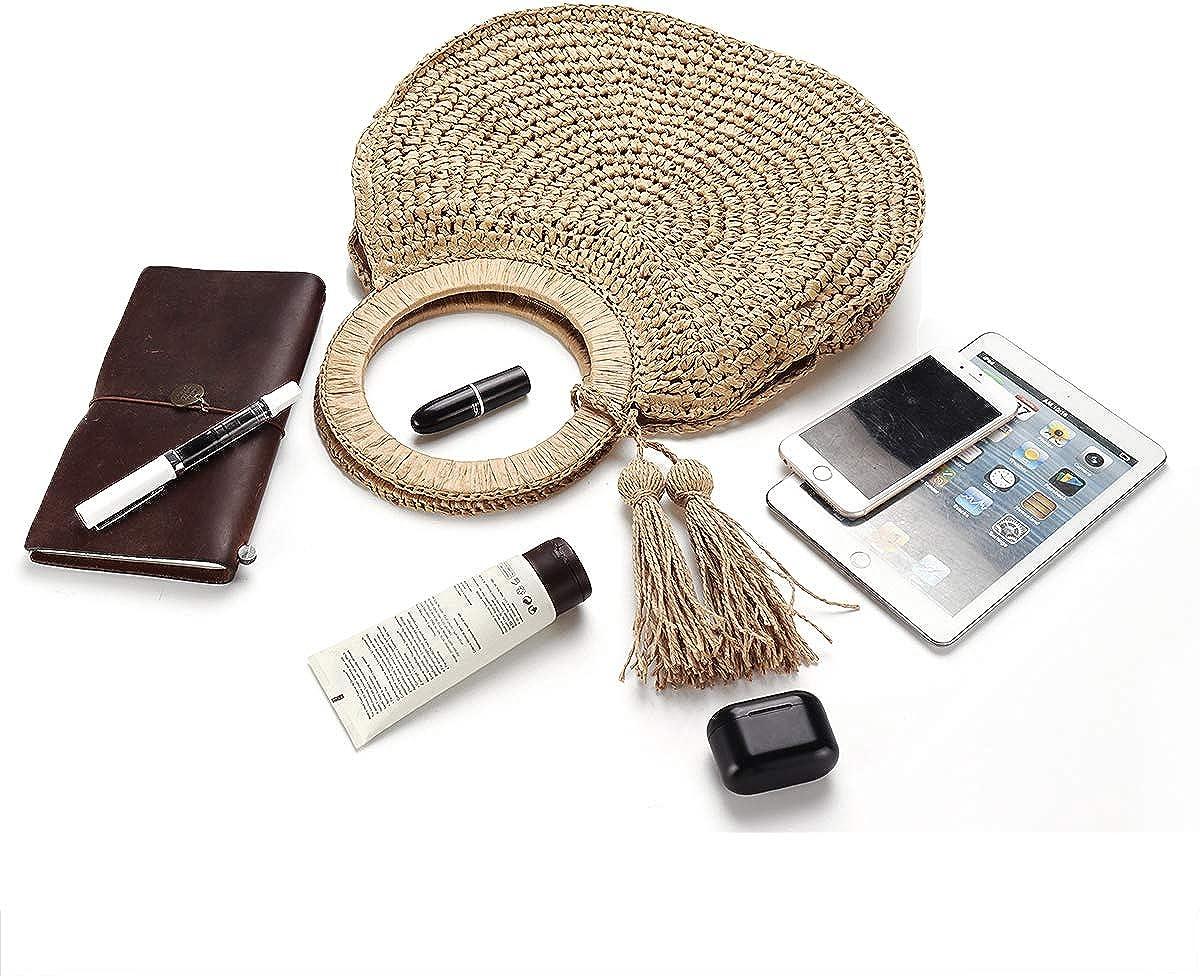 JOSEKO Womens Straw Handbag Straw Shoulder Bag for Beach Travel and Everyday Use